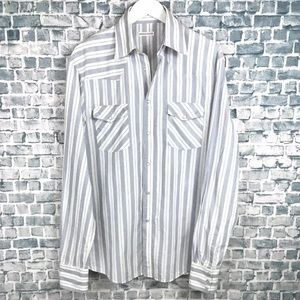 Michael Bastian Mens White Striped Pearl Snap
